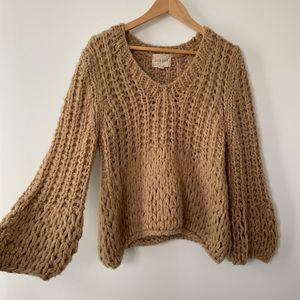 Anthropologie Chunky Knit Bell-Sleeve Sweater
